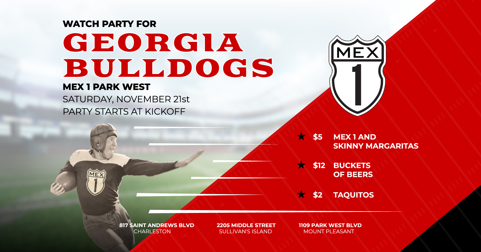 Georgia Football Watch Party at Mex 1 Park West